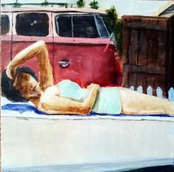 Painting of Woman Sunbathing