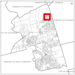 Map of City of Cambridge showing subject area in a red box