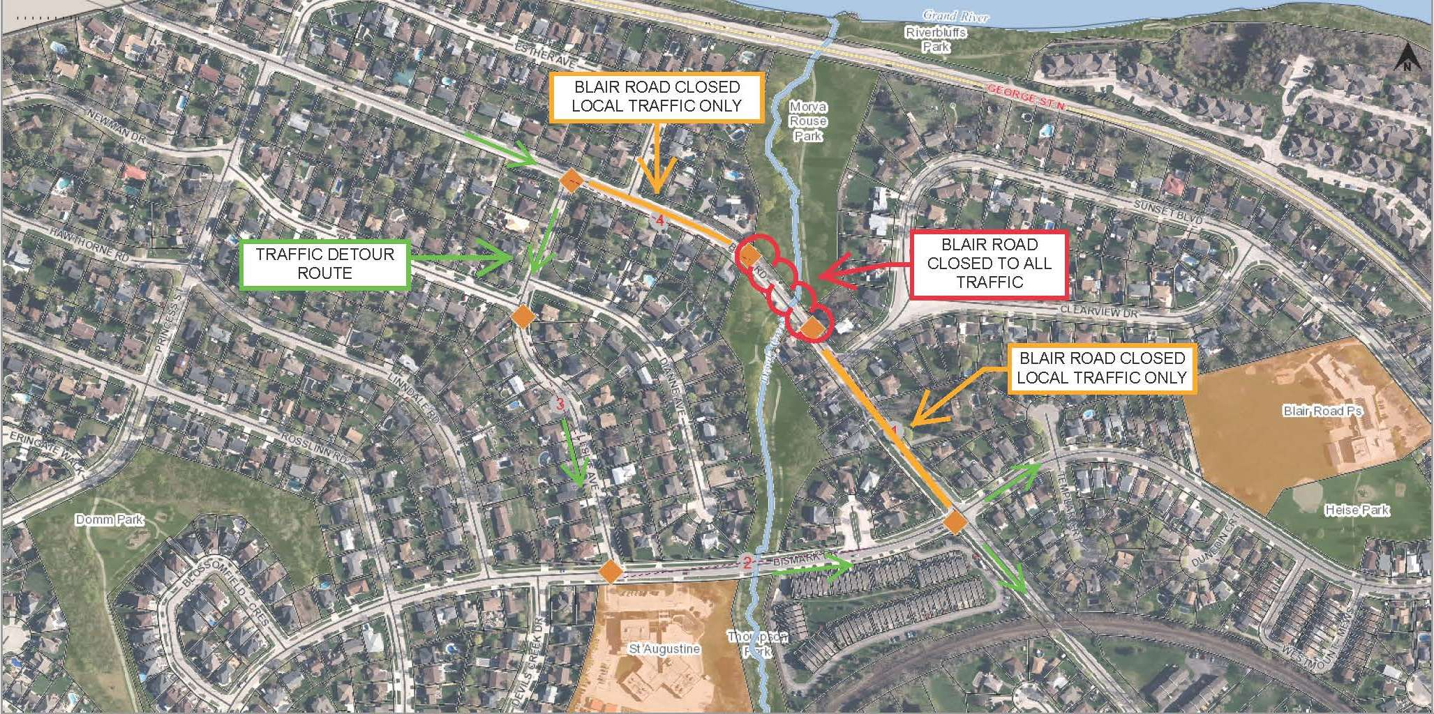 Blair Road Culvert and Retaining Wall Replacement - Detour Route