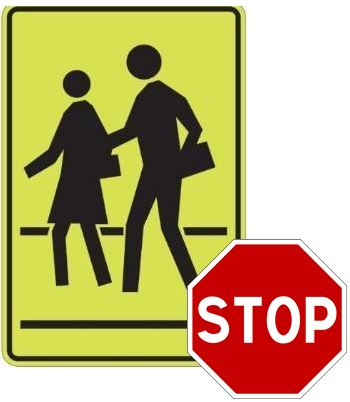 black pedestrian symbols (2 children) on yellow background with black border and a red stop sign