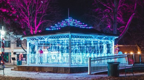 central park gazebo with lights
