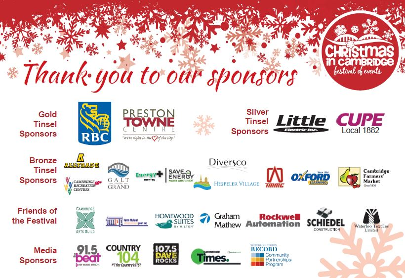 Christmas in Cambridge Sponsors 2017