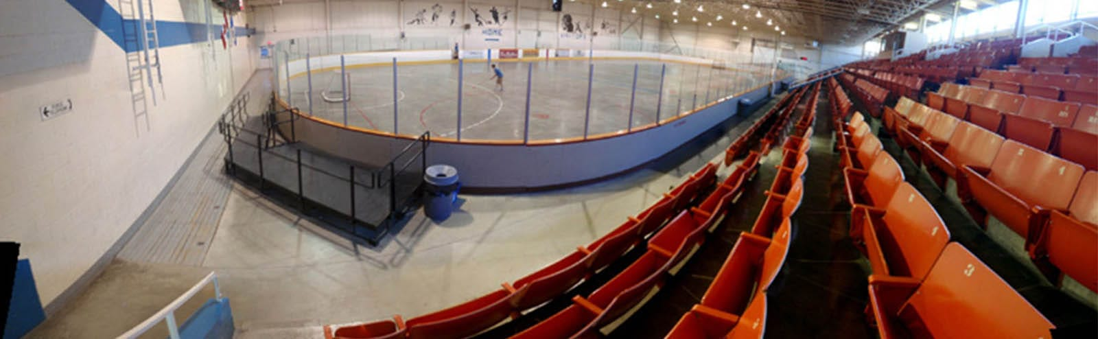 arena bleachers and ice pad