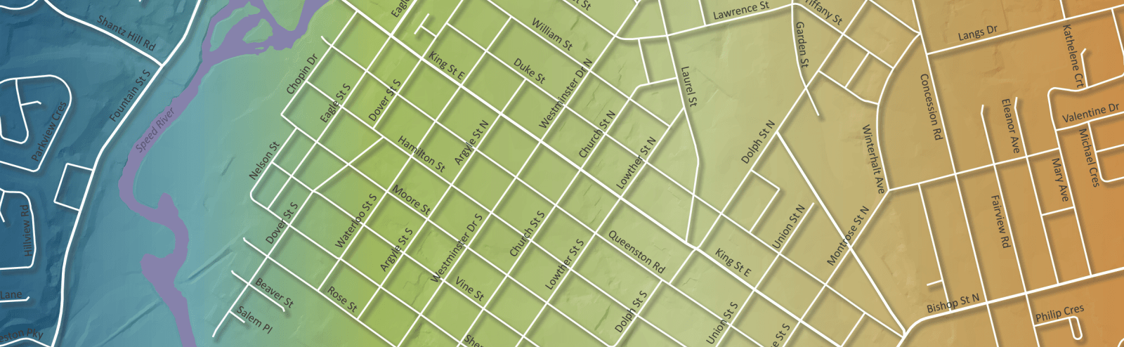 Map of Cambridge streets