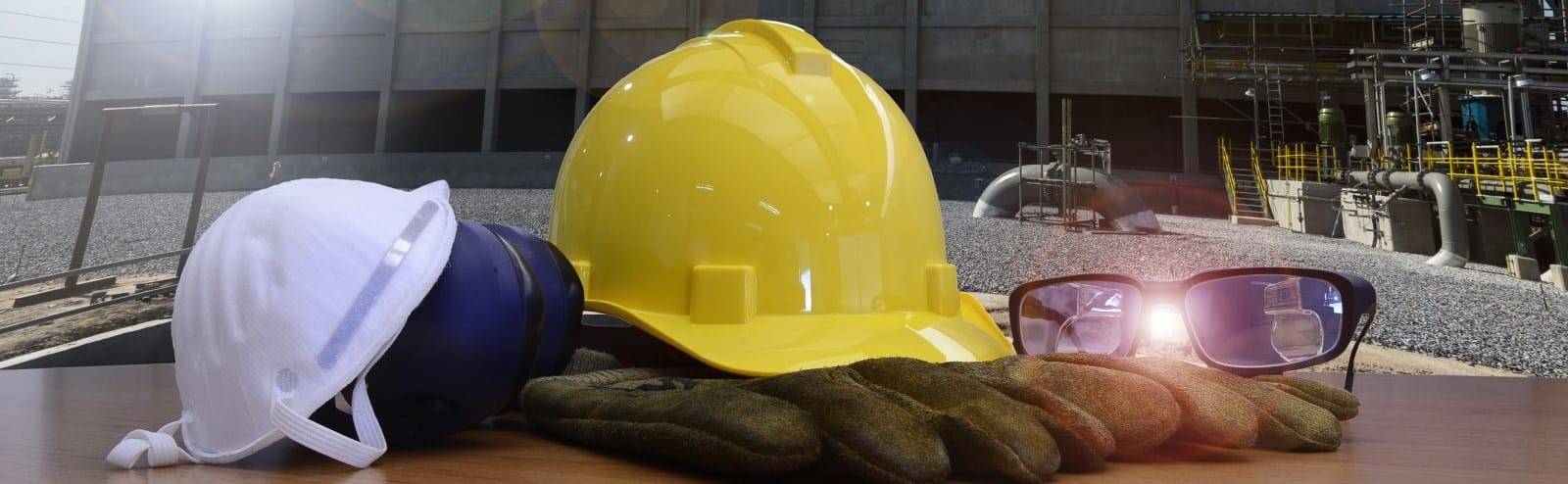 Safety equipment infront at industrial site