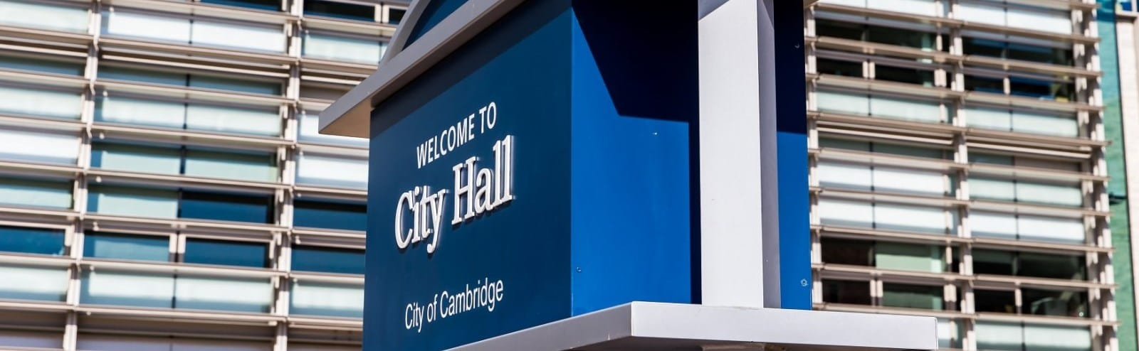 Welcome sign at city hall